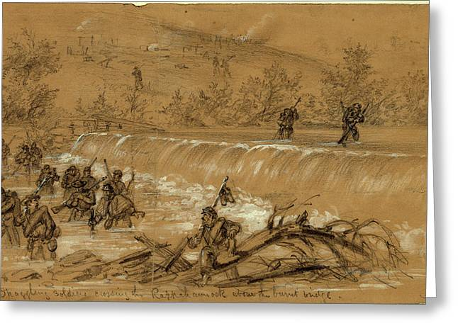 Straggling Soldiers Crossing The Rappahannock Greeting Card