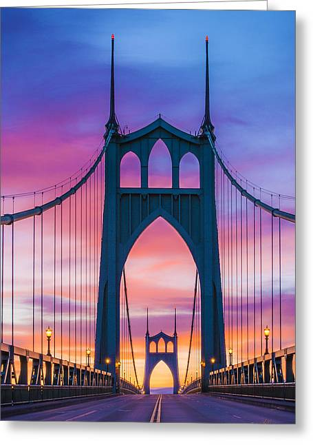 Straight Down The Bridge Greeting Card by Lori Grimmett