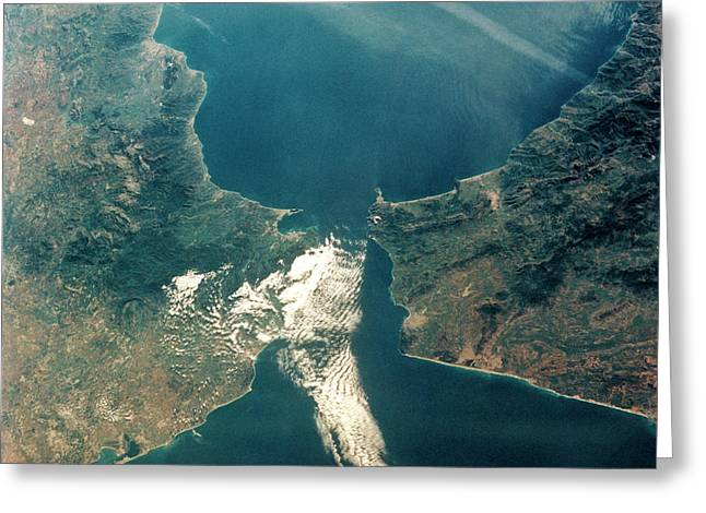 Strait Of Gibraltar Greeting Card by Nasa/science Photo Library