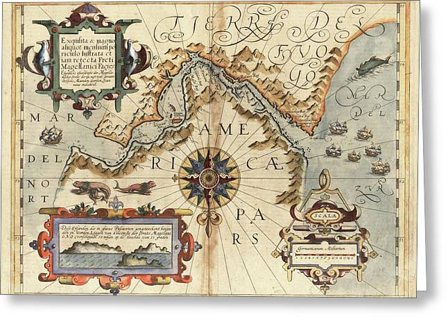 Strait Of Magellan Greeting Card by Library Of Congress, Geography And Map Division