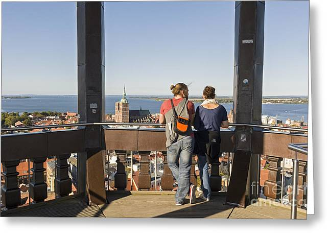 Stralsund From St Marys Church Germany Greeting Card by David Davies