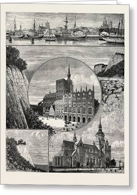 Stralsund From The Harbour. The Zerkluftete Wand Greeting Card by German School