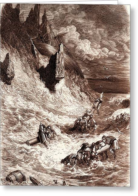 Stranding Of Sinbads Ship, By Gustave Dore Greeting Card