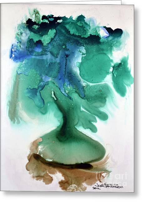 Greeting Card featuring the painting Strange Compote by Joan Hartenstein