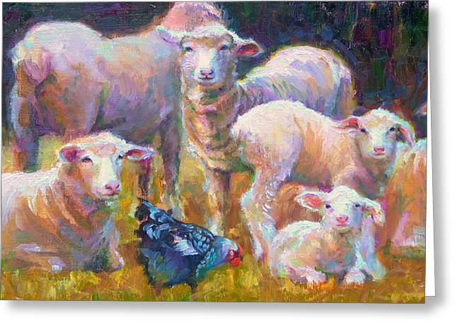 Stranger At The Well - Spring Lambs Sheep And Hen Greeting Card by Talya Johnson
