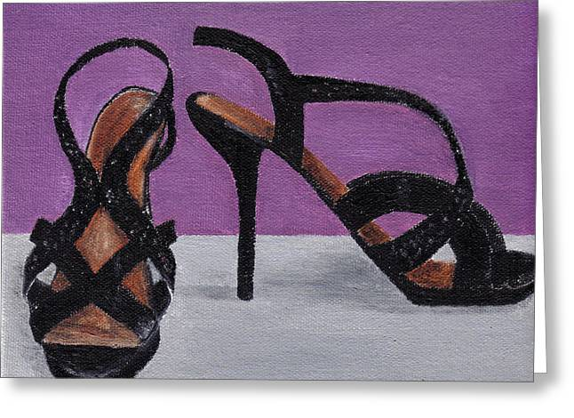 Strappy Black Heels For Maddy Greeting Card