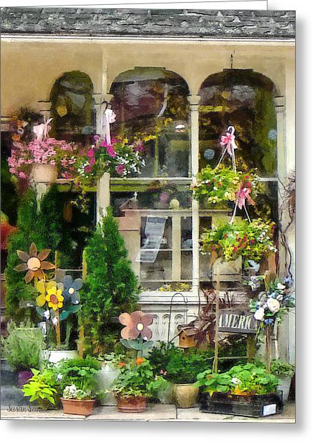 Strasburg Flower Shop Greeting Card by Susan Savad