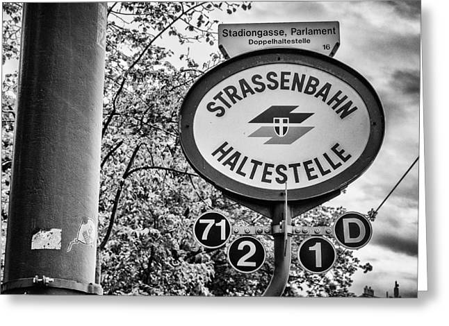 Strassenbahn Haltestelle Greeting Card by Pablo Lopez