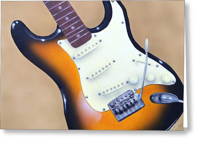 Greeting Card featuring the painting Strat O. Caster by Chris Fraser
