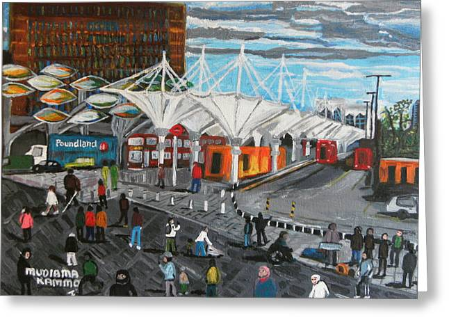 Greeting Card featuring the painting Stratford Bus Station Study 02 by Mudiama Kammoh