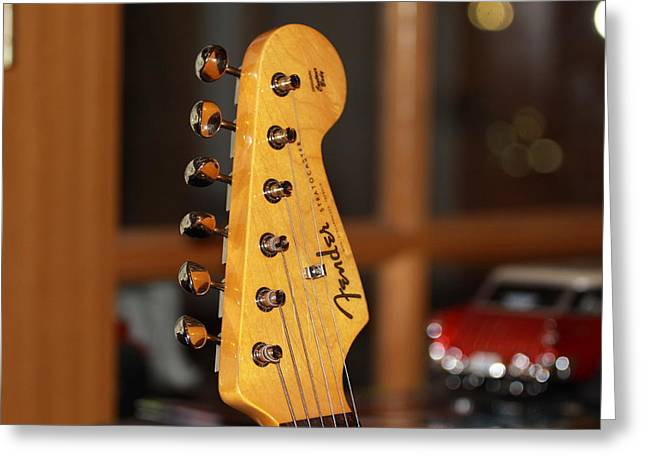 Greeting Card featuring the photograph Stratocaster Headstock by Chris Thomas