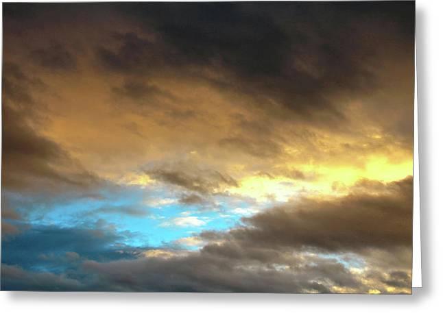Stratus Clouds At Sunset Bring Serenity Greeting Card