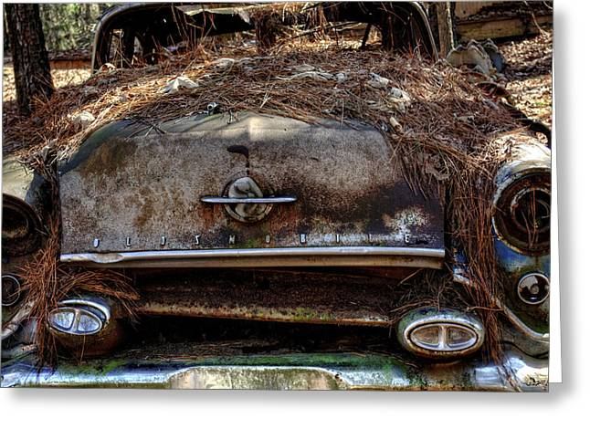 Straw Coverd Oldsmobile Greeting Card by Greg Mimbs