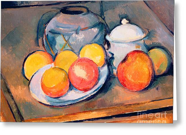 Straw Covered Vase Sugar Bowl And Apples Greeting Card by Paul Cezanne