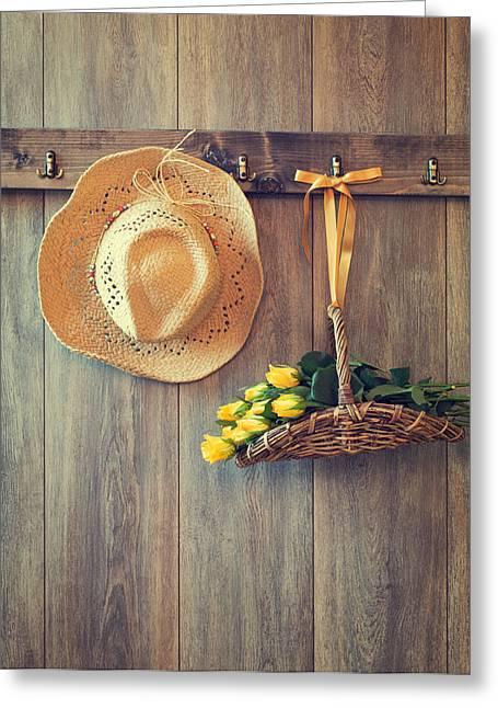 Straw Hat Greeting Card by Amanda Elwell