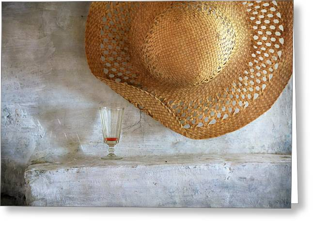 Straw Hat Greeting Card by Nikolay Panov