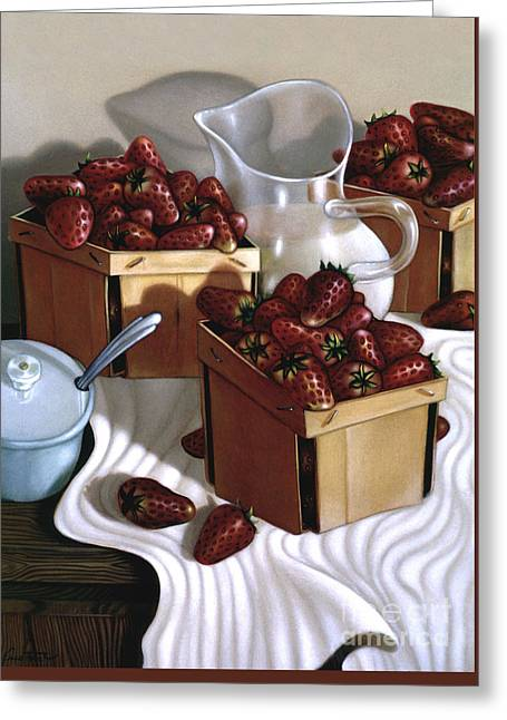 Strawberries And Cream 1997 Greeting Card by Larry Preston