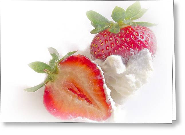 Strawberries And Cream Greeting Card by David and Carol Kelly