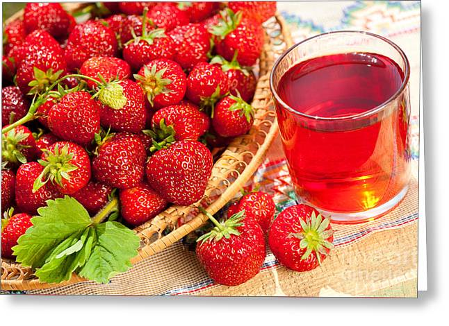 Red Strawberries In Basket And Juice In Glass  Greeting Card by Arletta Cwalina