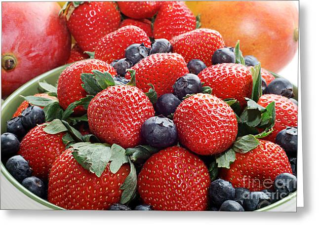 Strawberries Blueberries Mangoes - Fruit - Heart Health Greeting Card