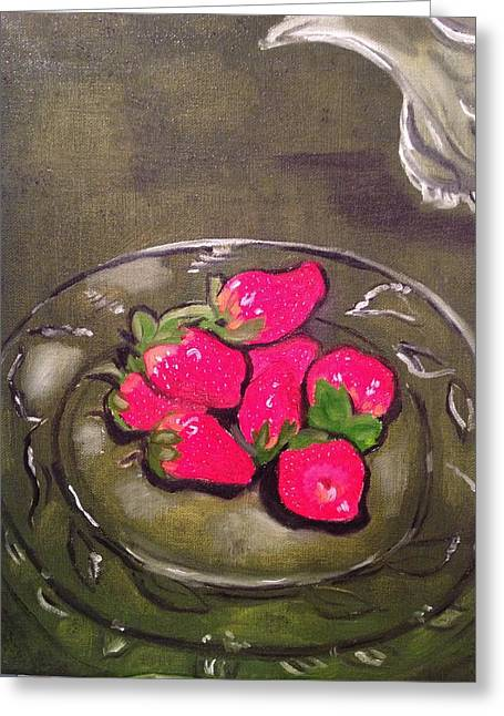 Greeting Card featuring the painting Strawberries by Brindha Naveen
