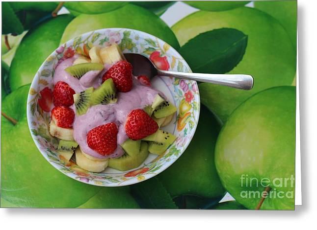 Strawberries Kiwi Banana Yogurt - Fruit - Dessert - Food Greeting Card by Barbara Griffin