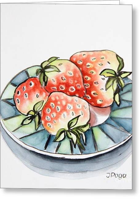Strawberries On Plate Greeting Card