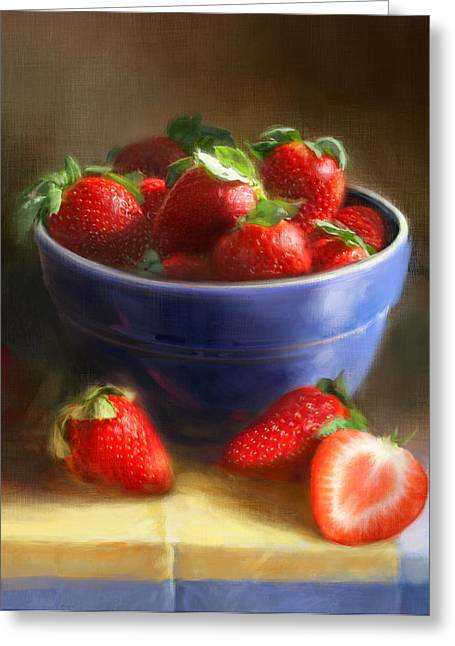 Strawberries On Yellow And Blue Greeting Card by Robert Papp