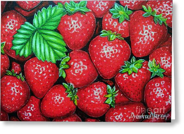 Strawberries Painting Oil On Canvas Greeting Card by Drinka Mercep