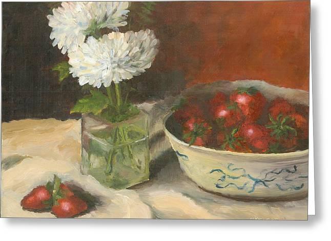 Strawberries W Chrysanthemum Greeting Card