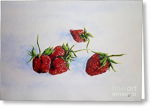 Strawberries  Greeting Card by Zaira Dzhaubaeva