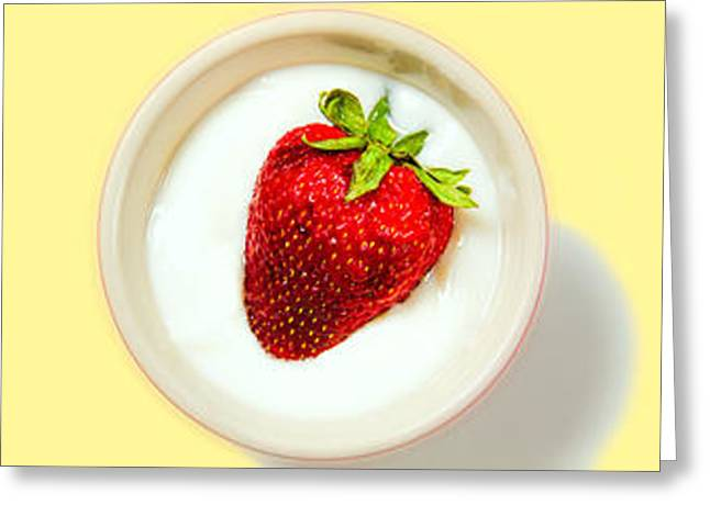 Strawberry And Cream Greeting Card by Bob Orsillo