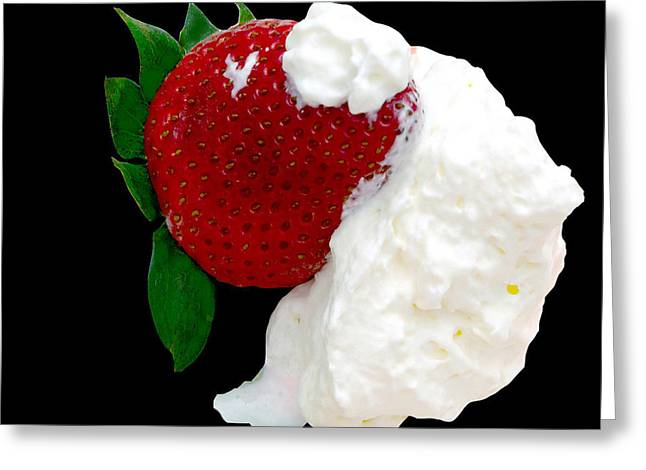 Strawberry And Cream Greeting Card by Camille Lopez