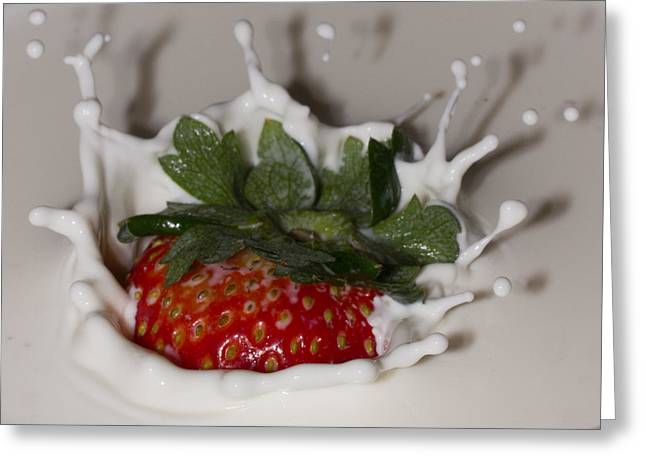 Greeting Card featuring the photograph Strawberry And Cream by Cathy Donohoue