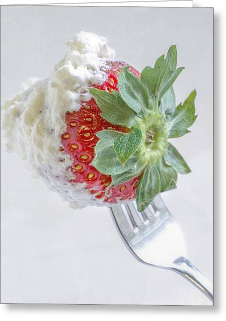 Strawberry And Whipped Cream Greeting Card by David and Carol Kelly