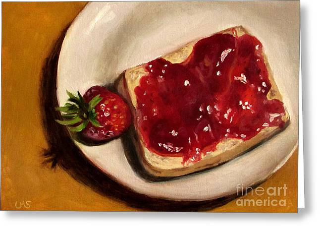 Strawberry - Before And After Greeting Card by Ulrike Miesen-Schuermann