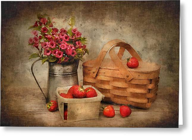 Strawberry Days Greeting Card by Robin-Lee Vieira