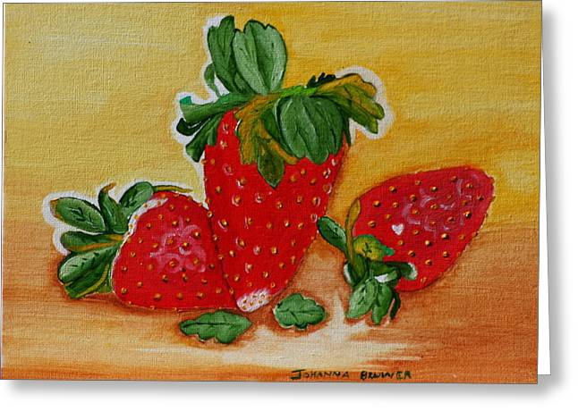 Greeting Card featuring the painting Strawberry Delight by Johanna Bruwer