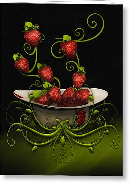 Greeting Card featuring the digital art Strawberry Fancy by Katy Breen