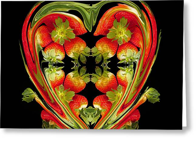 Strawberry Heart Greeting Card by David Pantuso