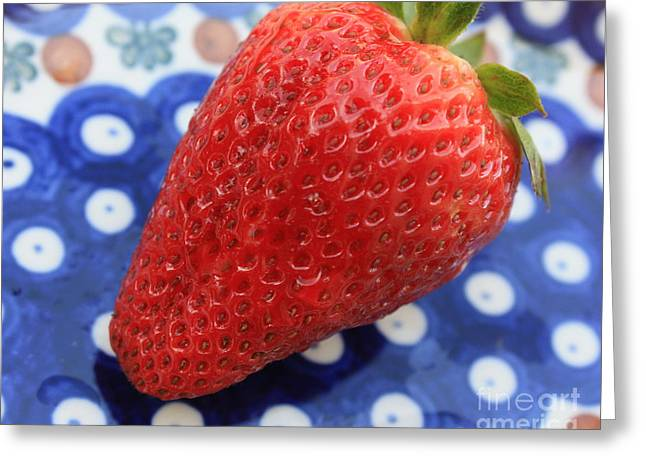 Strawberry On Blue Plate Greeting Card
