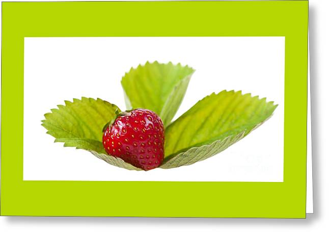 Ripe Strawberry Fruit Lying On Leaf On White  Greeting Card by Arletta Cwalina
