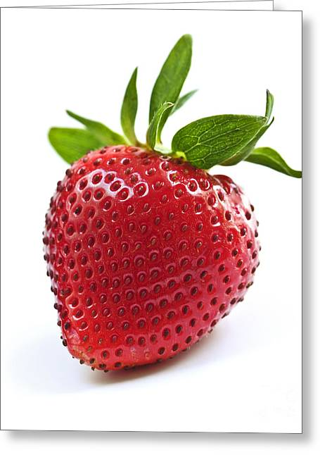 Strawberries Greeting Cards - Strawberry on white background Greeting Card by Elena Elisseeva