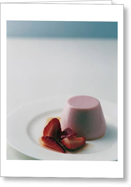 Strawberry Panna Cotta With Strawberry Compote Greeting Card