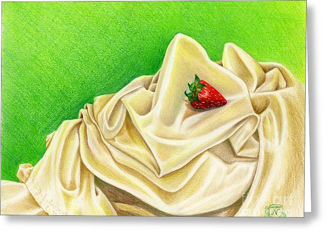 Greeting Card featuring the painting Strawberry Passion by Nancy Cupp