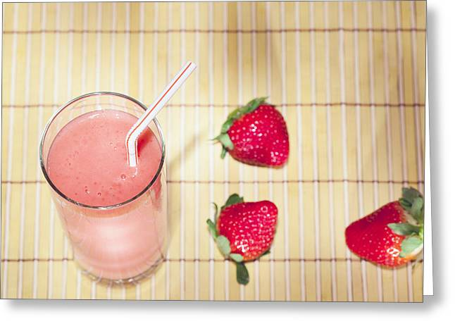 Strawberry Smoothie Greeting Card by Alexey Stiop
