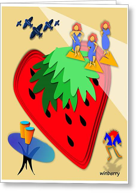 Strawberry Wars Greeting Card by Bob Winberry