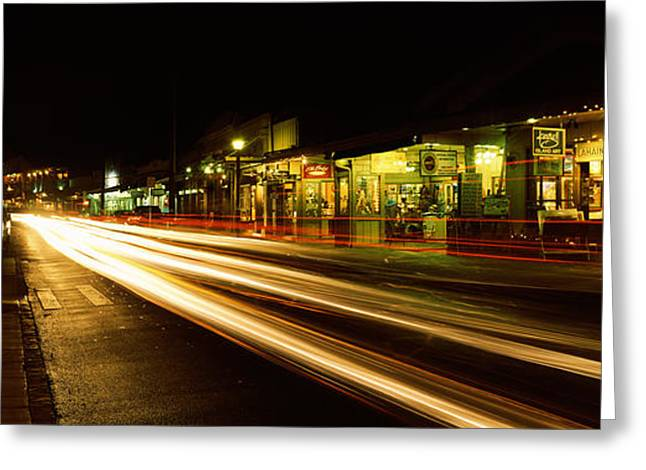 Streaks Of Lights On The Road In A City Greeting Card by Panoramic Images