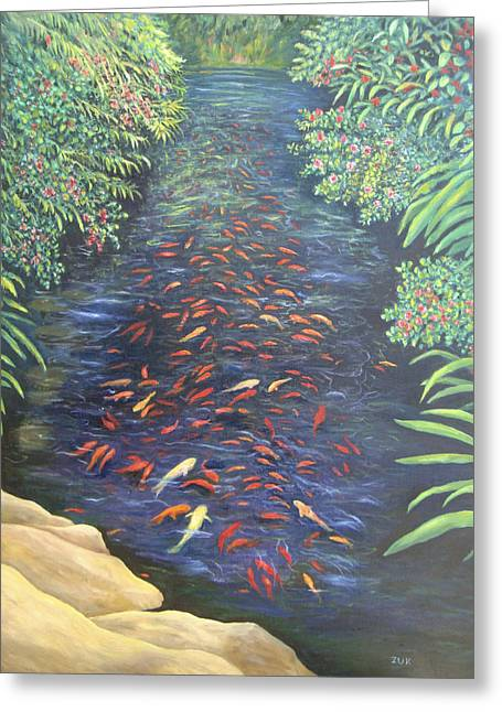 Stream Of Koi Greeting Card