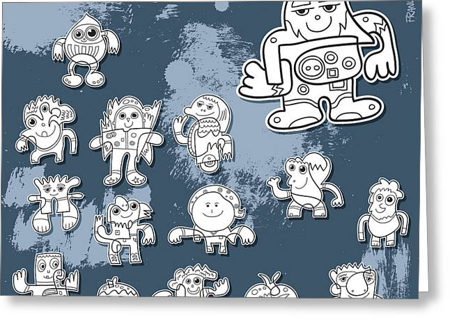 Street Art Doodle Characters Greeting Card by Frank Ramspott